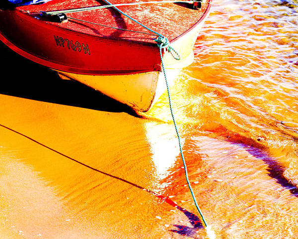 Boat Abstract Yellow Water Orange Poster featuring the photograph Boat abstract by Sheila Smart Fine Art Photography