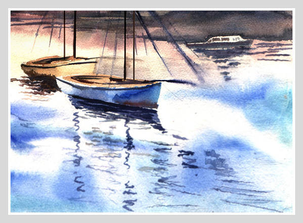 Watercolor Poster featuring the painting Boat And The River by Anil Nene