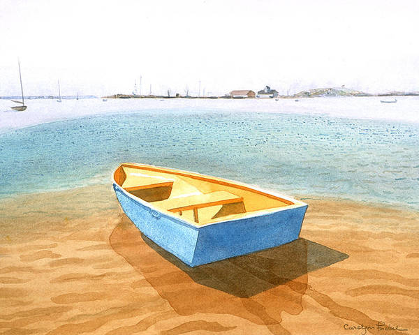 Tide Poster featuring the painting Boat At Low Tide by Carolynn Fischel