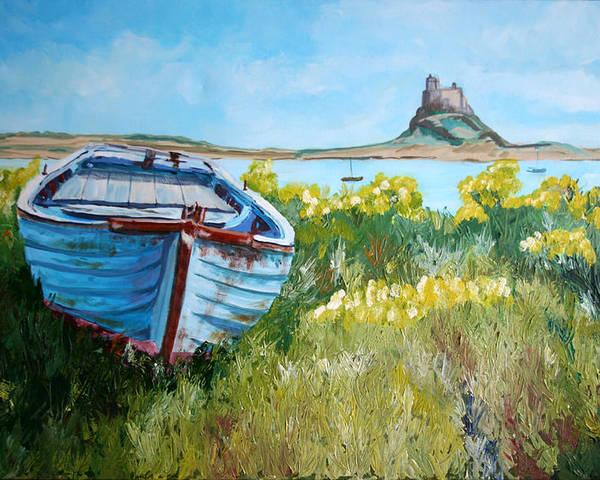 Seascape Poster featuring the painting Boat On Lindisfarne. by John Cox
