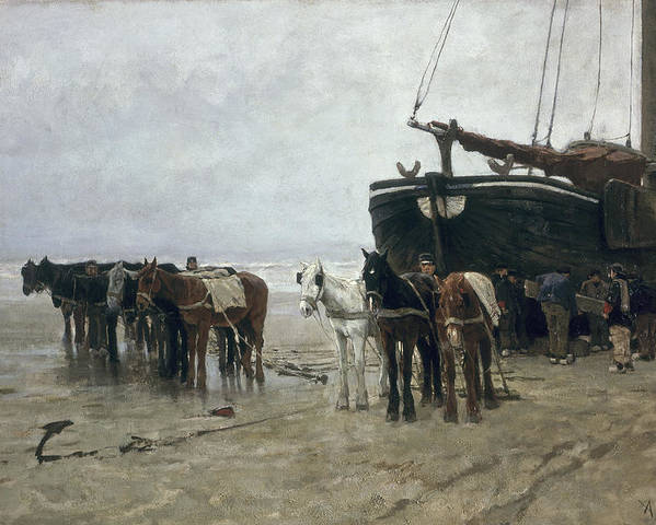 Boat Poster featuring the painting Boat On The Beach At Scheveningen by Anton Mauve