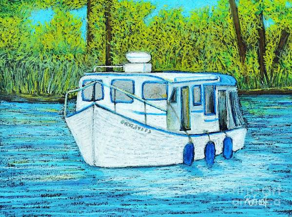 Boats Poster featuring the painting Boat On The River by Reb Frost