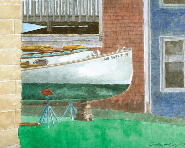 Boat Poster featuring the painting Boat Out Of Water - Portland Maine by Dominic White