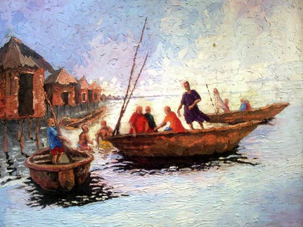 Waterside Poster featuring the painting Boat Peaple by Etim Ekpenyong