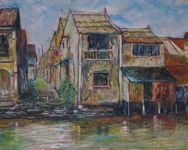 Landscape Poster featuring the painting Boat Ride Along The Malacca River by Wendy Chua