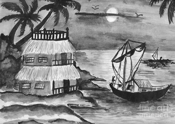 Nature Poster featuring the painting Boat Sailing In Moon Light by Tanmay Singh