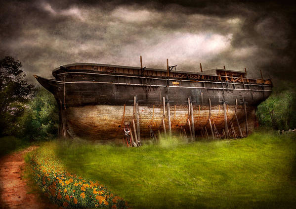 Suburbanscenes Poster featuring the photograph Boat - The Construction Of Noah's Ark by Mike Savad