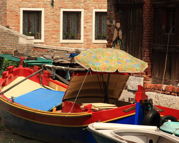 Venice Poster featuring the photograph Boat With Umbrella On Canal In Venice by Michael Henderson