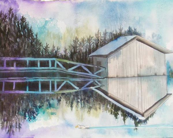 Water Poster featuring the painting Boathouse by Diane Ziemski