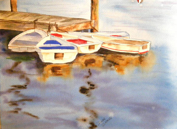 Boats Poster featuring the painting Boats by Diane Ziemski