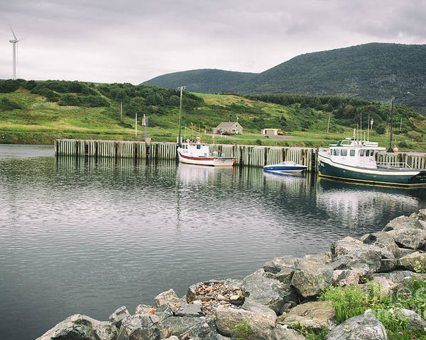 Boats Poster featuring the photograph Boats Docked In Harbor Cape Bretton Island ,, Nova Scotia by Nick Jene
