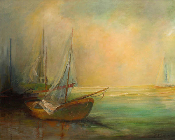 Ocean Poster featuring the painting Boats In The Mist by Blake Originals - Marjorie and Beverly