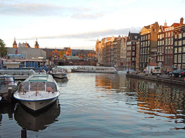 Europe Poster featuring the photograph Boats of Amsterdam by Heather Coen