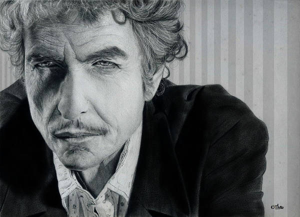 Pencil Drawing Poster featuring the drawing Bob Dylan by Thodoris Stratigos