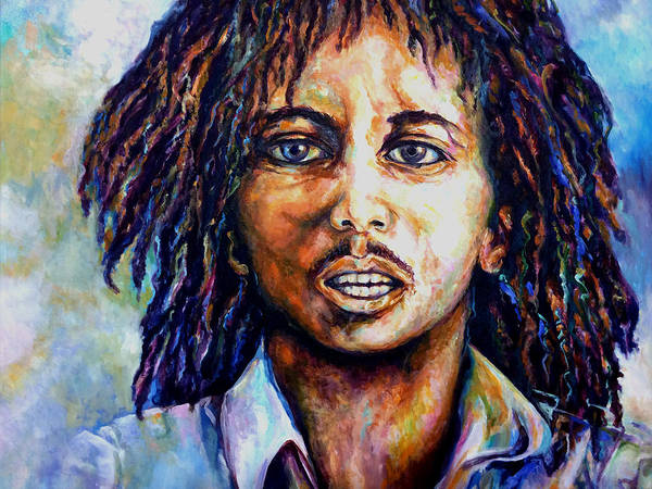 Original Fine Art By Lloyd Deberry Poster featuring the painting Bob Marley by Lloyd DeBerry