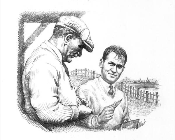 Bobby Jones Poster featuring the drawing Bobby Jones At British Open by Harry West
