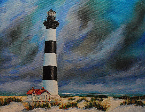 Seascape Poster featuring the painting Bodie Island Lighthouse by Ned Stacey