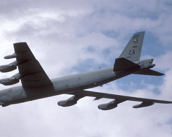 Airplane Poster featuring the photograph Boeing B-52g Stratofortress 59-2565 93rd Bomb Wing Castle Afb September 17 1992 by Brian Lockett
