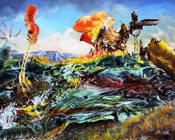 Landscape Poster featuring the painting Bogomil Landscape by Otto Rapp