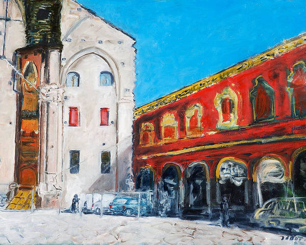 Cityscape Square Church Gallery White Red Blue Sky Poster featuring the painting Bologna Plaza by Joan De Bot