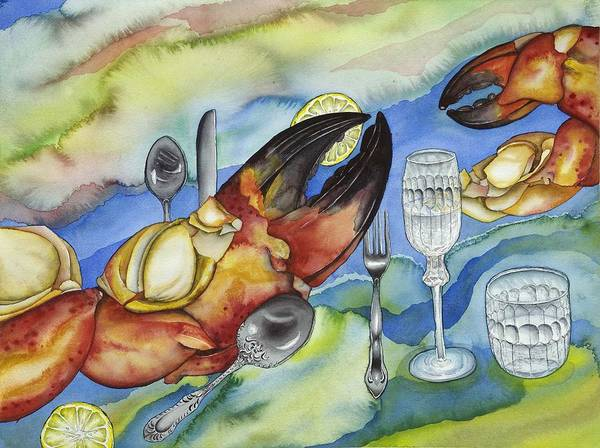 Sea Poster featuring the painting Bon Appetit Favorite Food 2 Right Image Diptych by Liduine Bekman