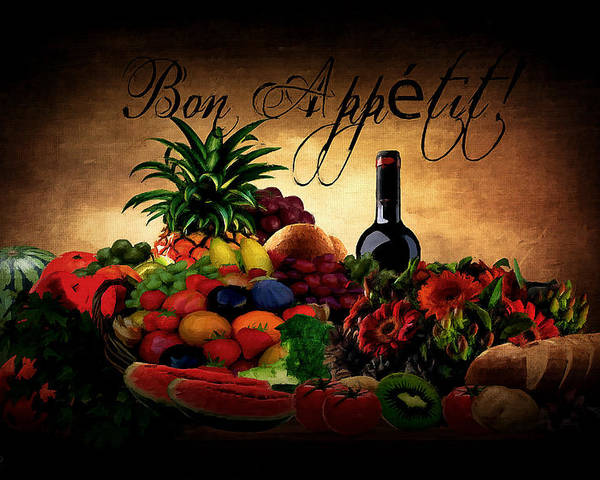 Poster featuring the digital art Bon Appetit by Lourry Legarde