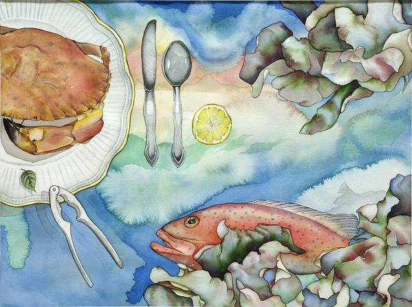 Sea Poster featuring the painting Bon Appetit Together Right Image Diptych by Liduine Bekman