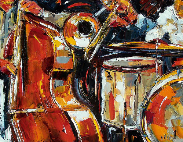 Jazz Poster featuring the painting Bone Bass And Drums by Debra Hurd