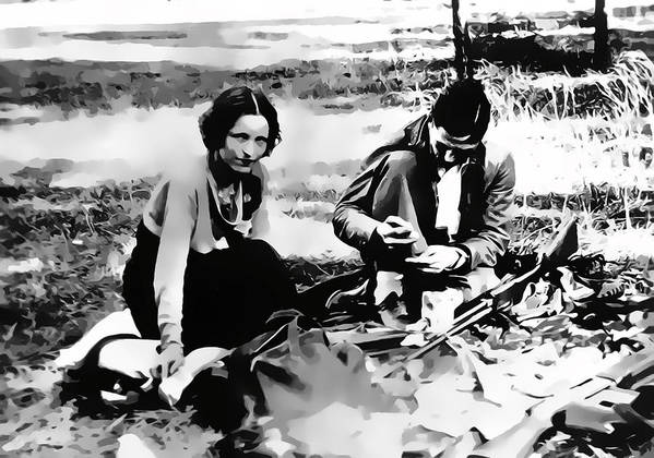 Bonnie And Clyde Gun Picnic Poster