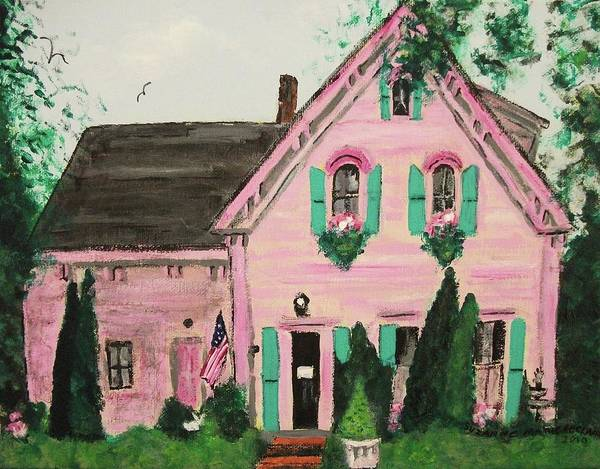 Bookstore Poster featuring the painting Bookstore In Cape Cod by Suzanne Marie Leclair
