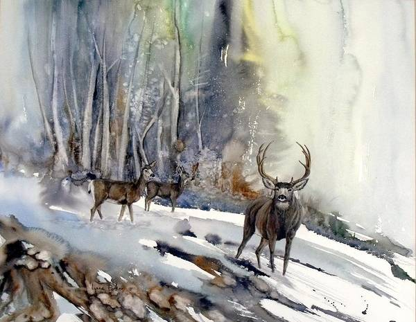 Mule Deer Poster featuring the painting Boone And Crockett by Lynne Parker