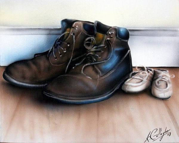 Boots Poster featuring the painting Boots And Shoes by Kevin Gallagher