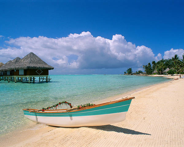 Accommodation Poster featuring the photograph Bora Bora, Hotel Moana by Greg Vaughn - Printscapes