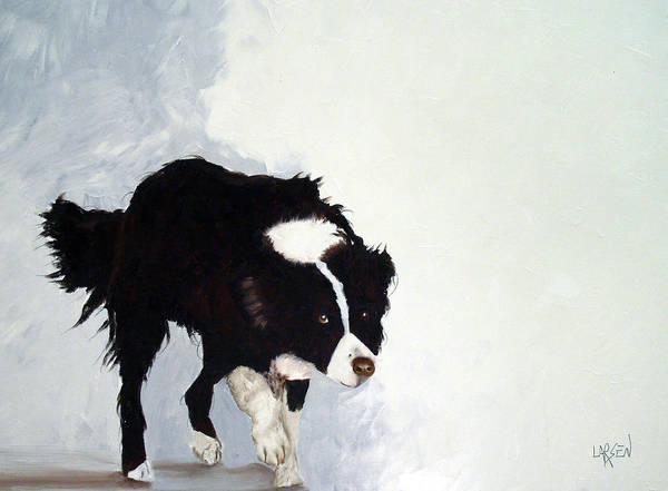 Border Collie Poster featuring the painting Border Collie by Dick Larsen