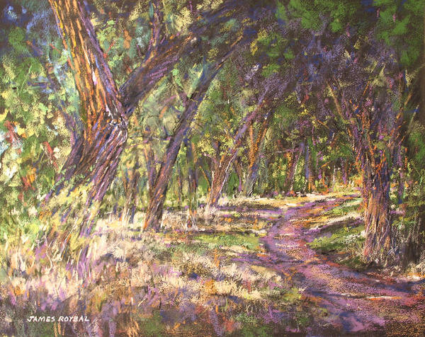 Landscape. Pastel Poster featuring the painting Bosque Light by James Roybal