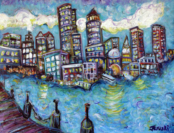 Boston Poster featuring the painting Boston Harbor by Jason Gluskin
