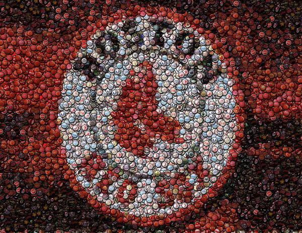 Boston Poster featuring the digital art Boston Red Sox Bottle Cap Mosaic by Paul Van Scott