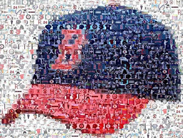 Boston Poster featuring the digital art Boston Red Sox Cap Mosaic by Paul Van Scott