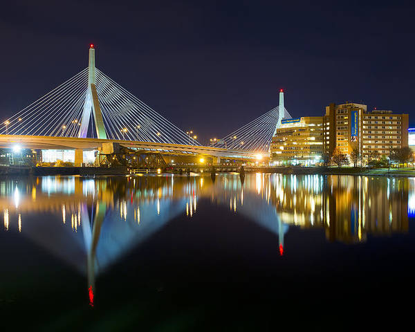 Boston Photographs Photographs Poster featuring the photograph Boston Zakim Bridge Reflections by Shane Psaltis