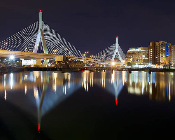 Boston Photographs Photographs Poster featuring the photograph Boston Zakim Memorial Bridge Nightscape II by Shane Psaltis