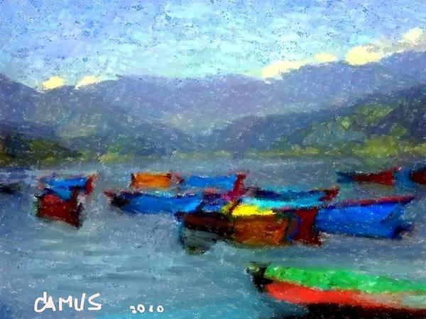 Art Poster featuring the painting Botes by Carlos Camus