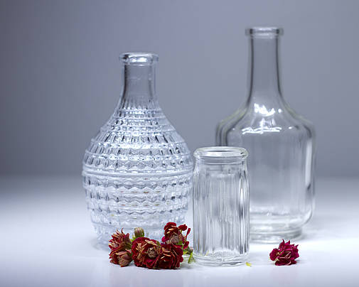 Still-life Poster featuring the photograph Bottles And Red Flowers by Lali Nisi
