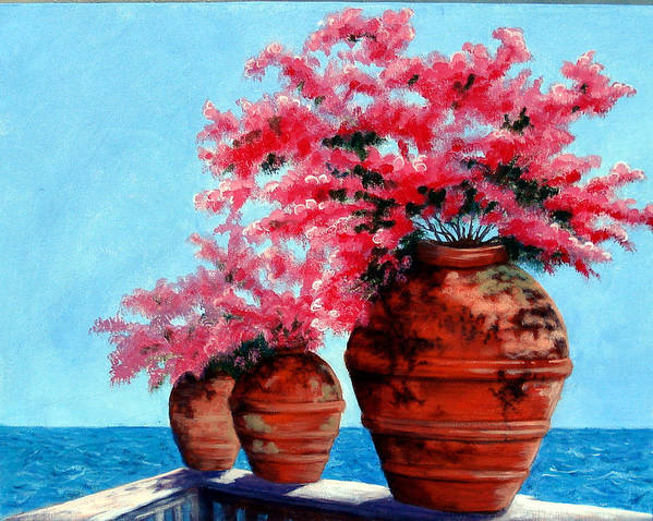 Bougainvillea Poster featuring the painting Bougainvillea by SueEllen Cowan