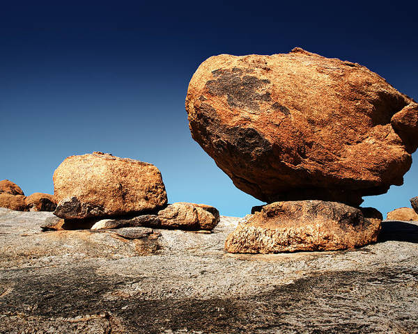 Large Poster featuring the photograph Boulder On Solid Rock by Johan Swanepoel