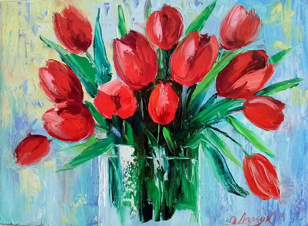 Bouquet Of Tulips Poster featuring the painting Bouquet Of Tulips by Olha Darchuk
