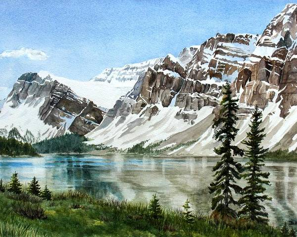 Bow Lake Poster featuring the painting Bow Lake Alberta No.2 by Debbie Homewood