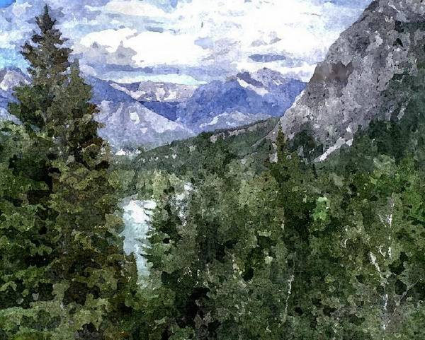 Rocky Mountains Poster featuring the digital art Bow River Valley In The Canadian Rockies by Don Berg