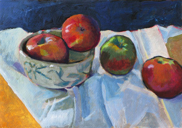 Apple Poster featuring the painting Bowl Of Apples by Robert Bissett