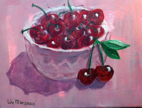 Cherries Poster featuring the painting Bowl Of Cherries by Lia Marsman