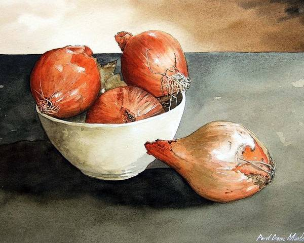 Still Life Poster featuring the painting Bowl of Onions by Paul Dene Marlor